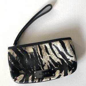 L.A.M.B. zebra style small wristlet black & white